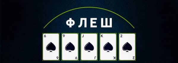 Комбинация Флеш в покере.